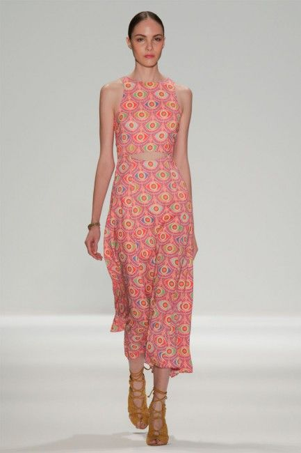 Waist Cutout Tea Length Dress