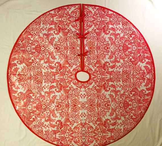 Oilcloth Tree Skirt For Christmas In Red Lace Toile Print