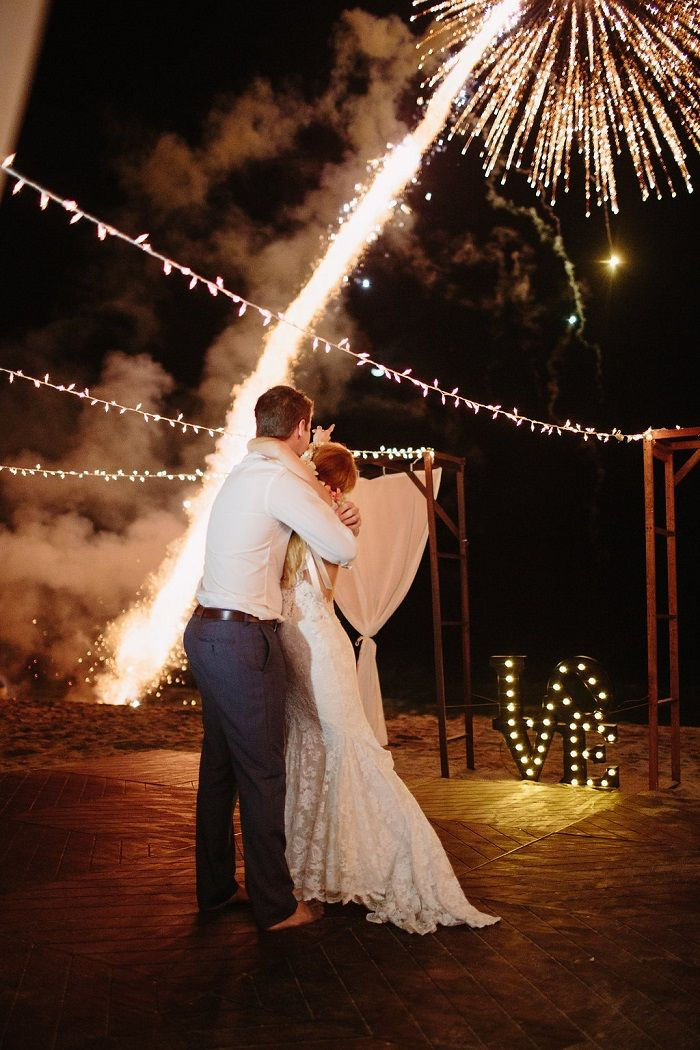 Fire work above the wedding dance floor