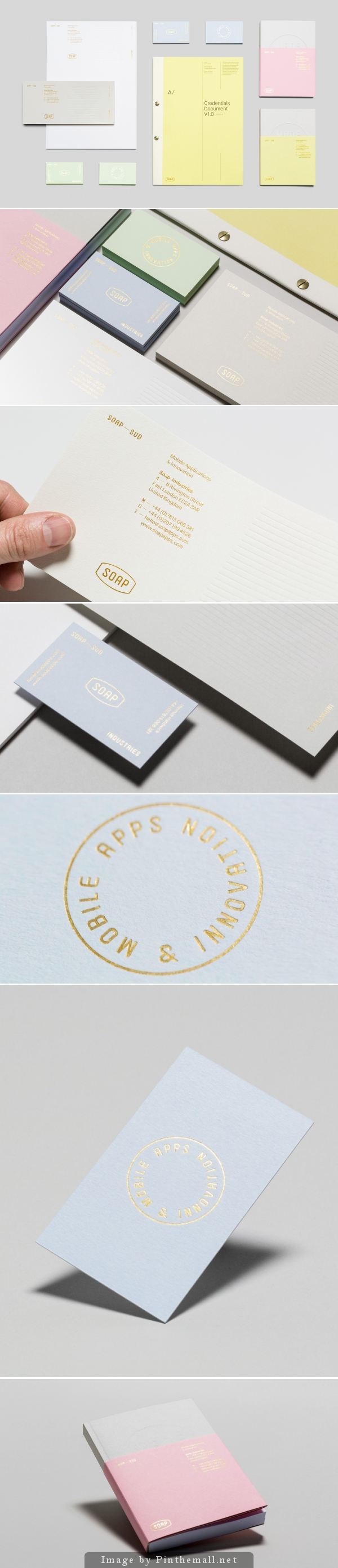 Corporate identity branding stationary minimal graphic logo design letterpress cold gold foil business card letterhead wcc pastel colors