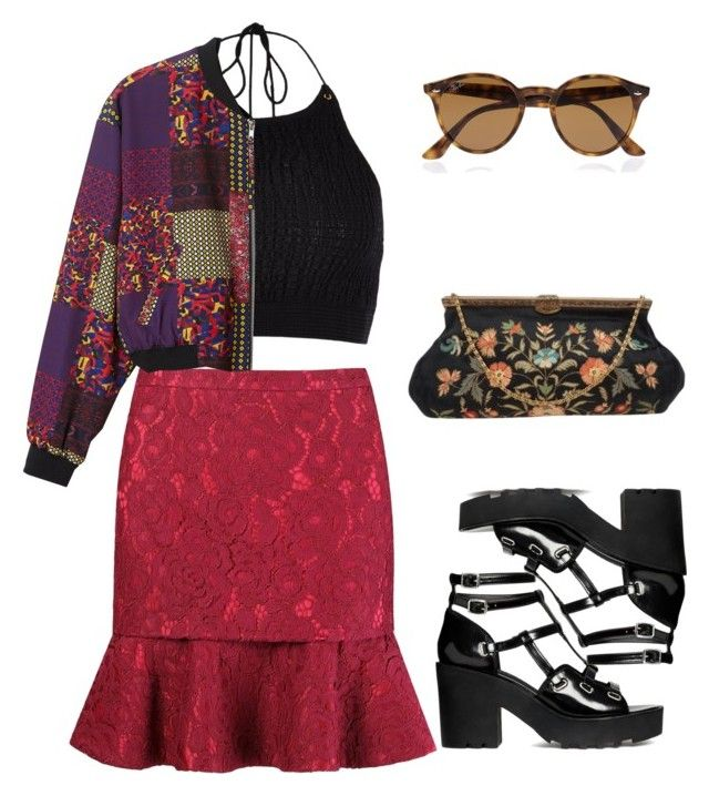 """SULTANS OF SWING"" by mattressqueen ❤ liked on Polyvore featuring River Island, Martha Medeiros, Monki and Ray-Ban"