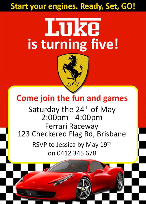 Cars Invitation Card Template Free: Ferrari / Racing Car Birthday Invites / By