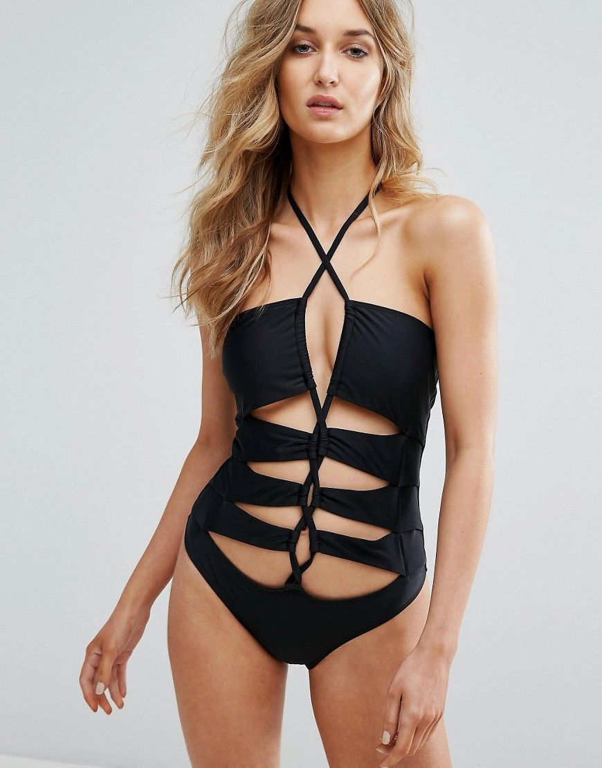 6669b6baa8 Noisy May Tan Lines Laced up Swimsuit - Black