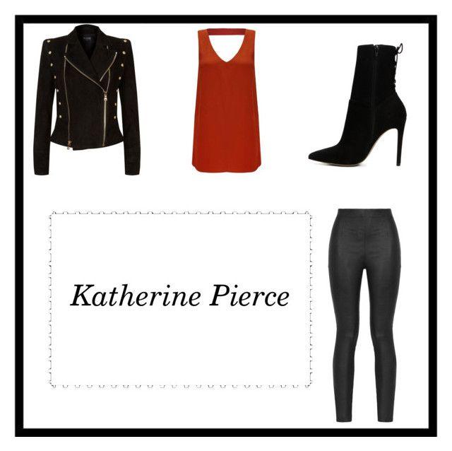 """Katherine Pierce Inspired Look"" by parislove-jr on Polyvore featuring Armani Jeans, Miss Selfridge, Balmain and ALDO"