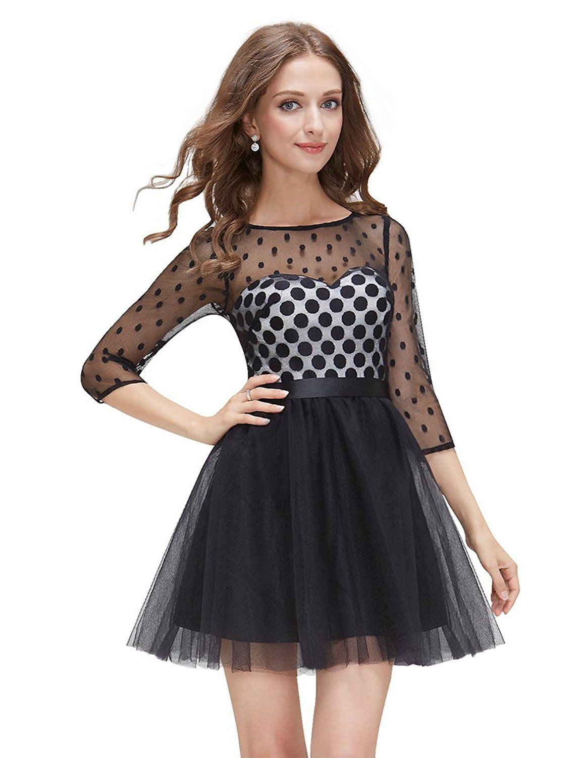 Ever prettyâue semi sheer tulle polka dot sleeve party dress