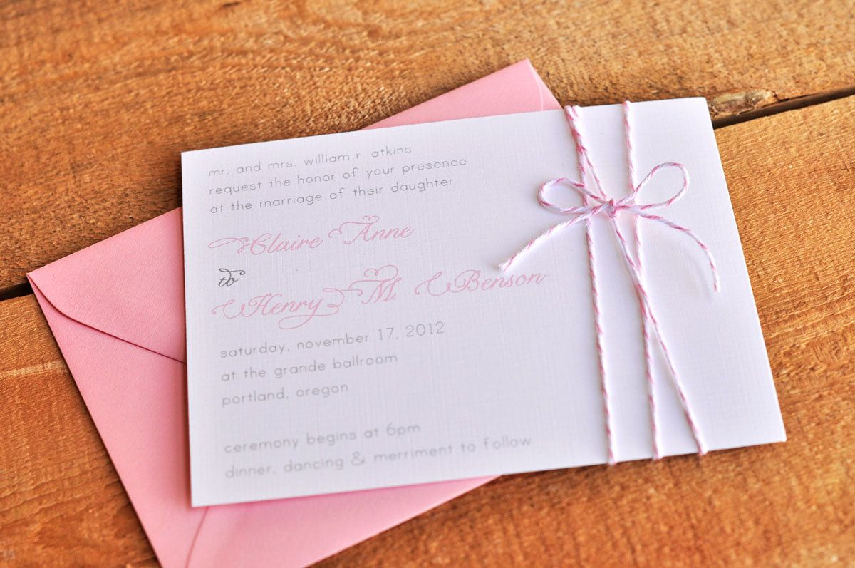 Sweetly Wrapped Wedding Invitation With Bakers Twine