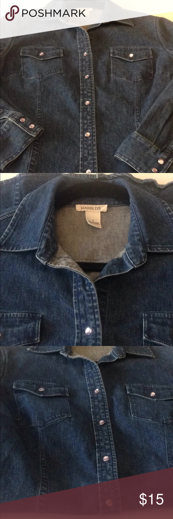 109a20d85a Harold s Jean Long Sleeve Buttoned Down Shirt Super cute Jean shirt with  Rhinestone buttons Size S Cotton 98%   Spandex 2% Harold s Tops Button Down  Shirts