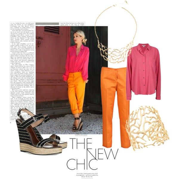 featuring chloe + isabel Coral Branch Collar Necklace & Cuff http://bit.ly/KIUPi5    orange + pink, created by mrstoes on Polyvore