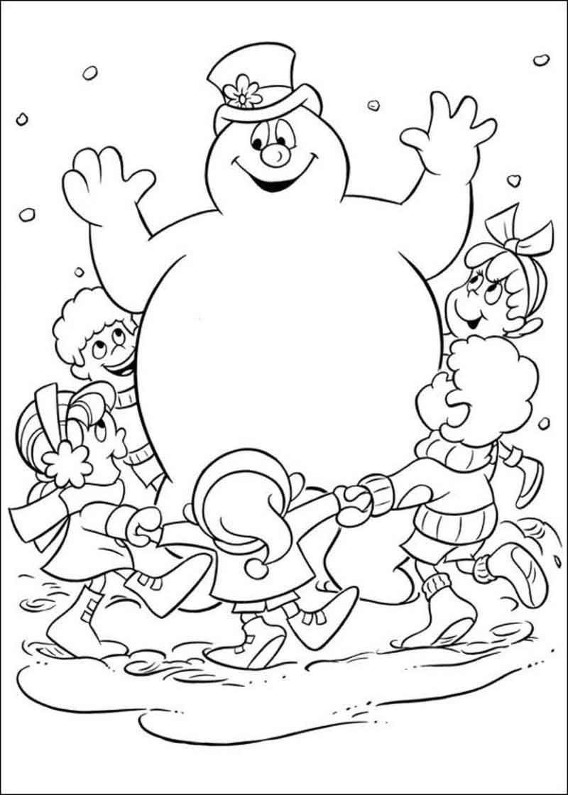 Frosty The Snowman Coloring Page Fun From Cartoon Coloring Pages