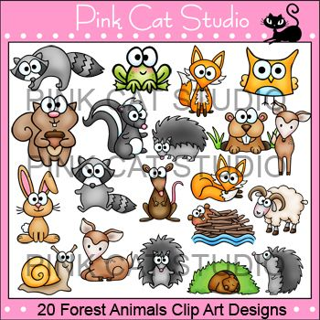 This is a value pack of 20 Forest Animals animal clip art ...