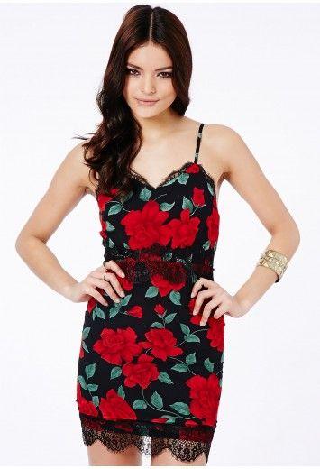 f0ebb6717fdd Missguided - Otylia Rose Print Eyelash Lace Cami Slip Dress £29.99 ...