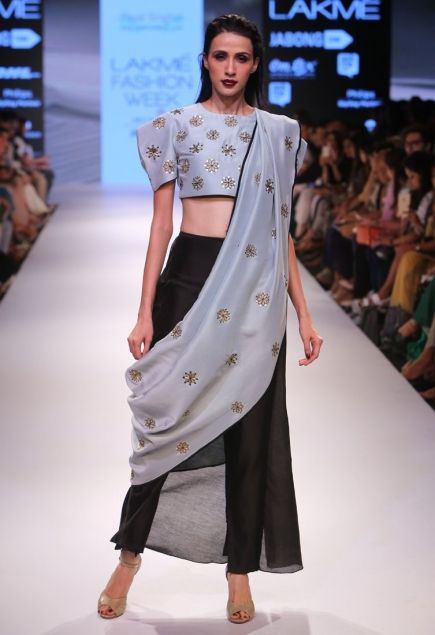 Powder blue embroidered crop top with black pants & dupatta