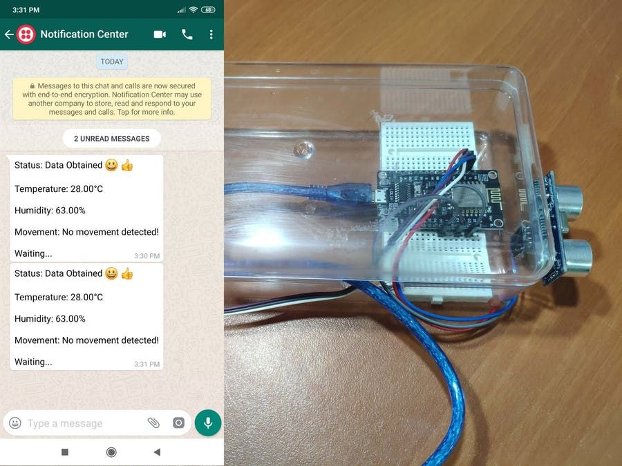 WhatsApp Notification Station - Hackster io | ESP8266 in