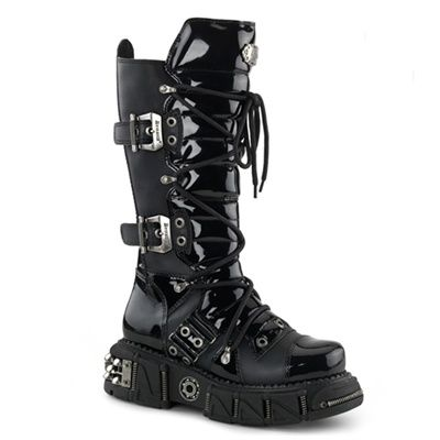 28bbef8f0e10 Demonia DMA-3006 Men s Gothic Buckle Boots by Demonia. Tonal Black Patent  and matte PU boots with industrial metal detailing. Boxer-201 mens platform  boots ...