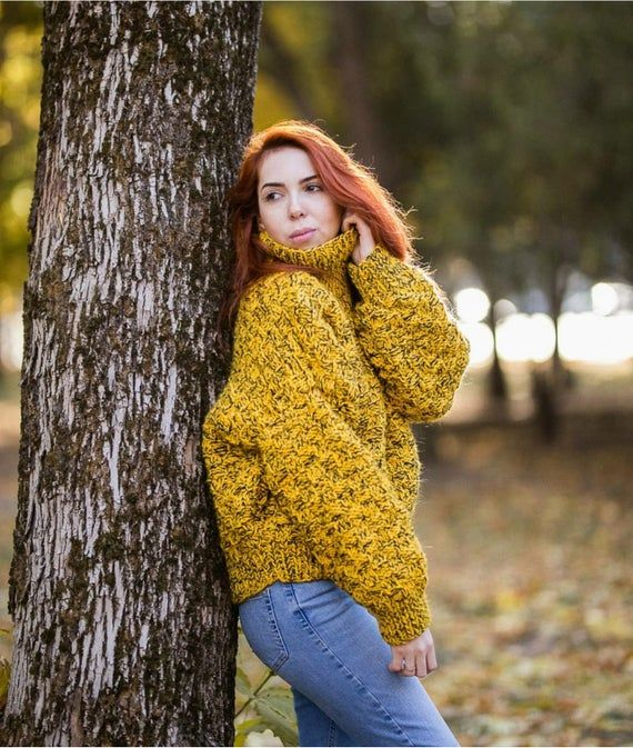 Chunky knit oversized sweater for women Turtleneck hand knit jumper in wool Yellow with black melange drop shoulder pullover Plaid sweater #chunkyknitjumper