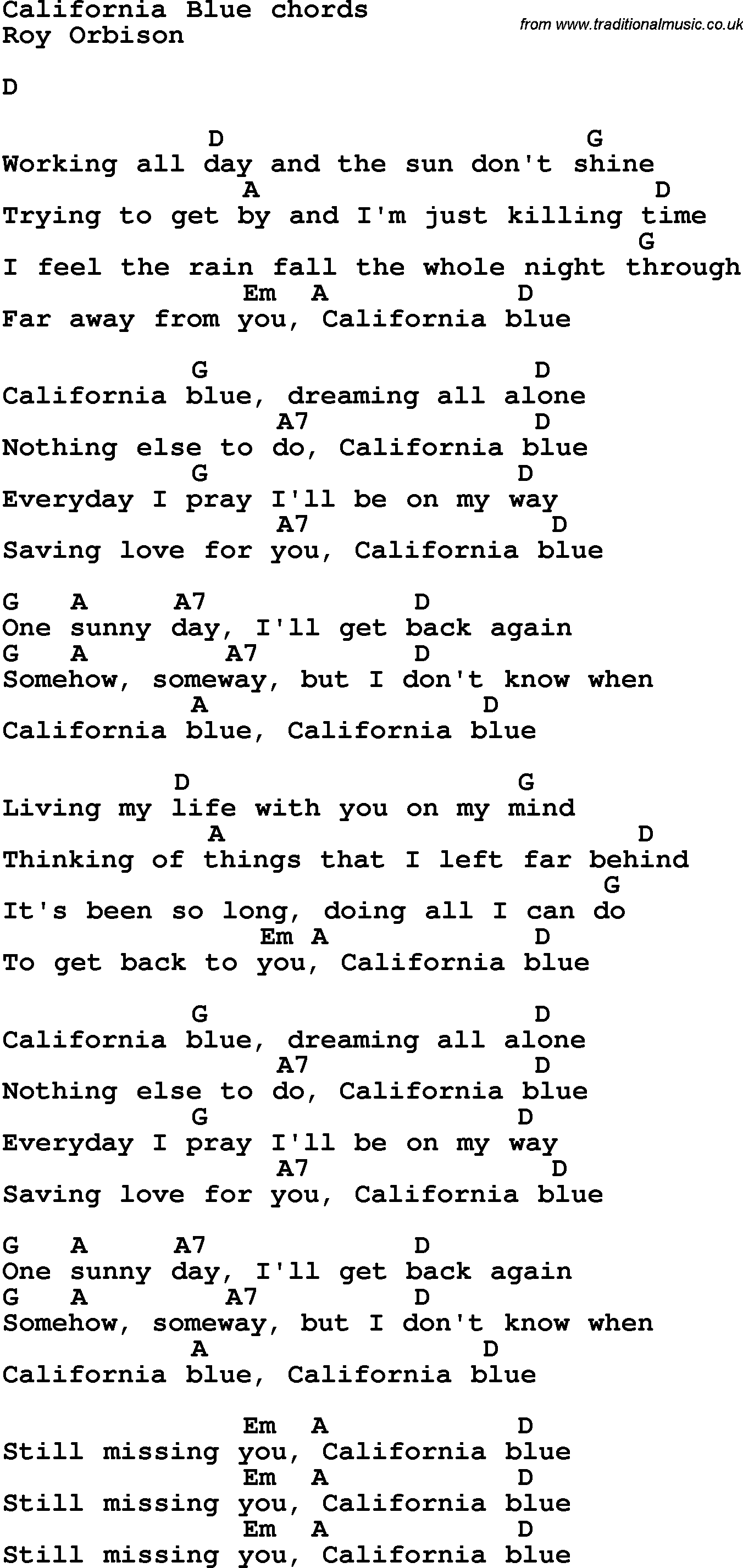 Song Lyrics With Guitar Chords For California Blue Guitar Chords