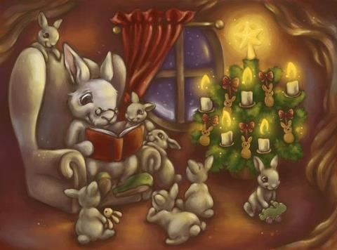 Twas The Night Before Christmas Christmas Art Christmas Stationery Rabbit Illustration