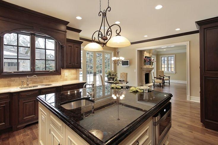 Modern White Kitchen Island With Black Granite Top Kitchen