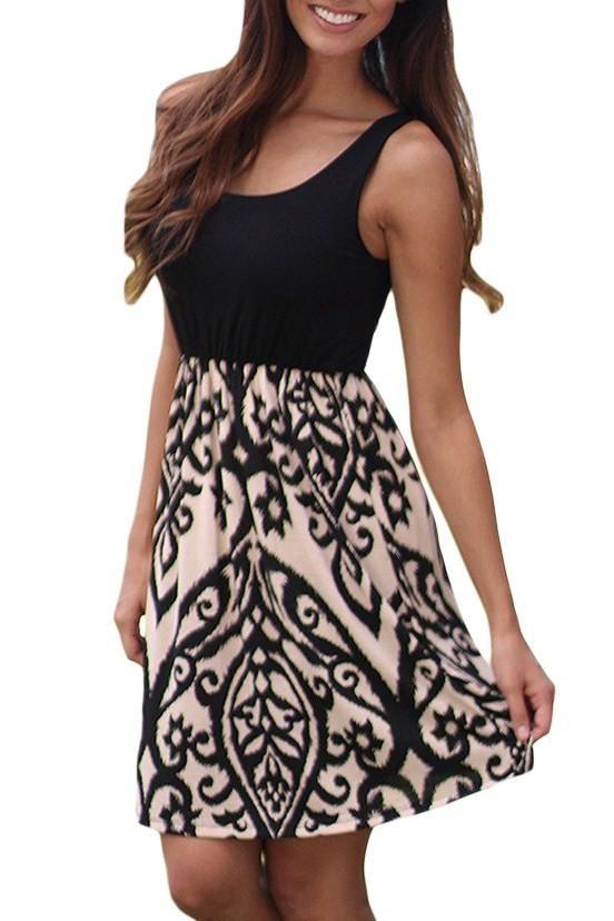 Black and Aqua Printed Sleeveless A-line Short Summer Dress modeshe.com   Apricot  Black  dress  design  dresses  beautiful 8b4773e9c