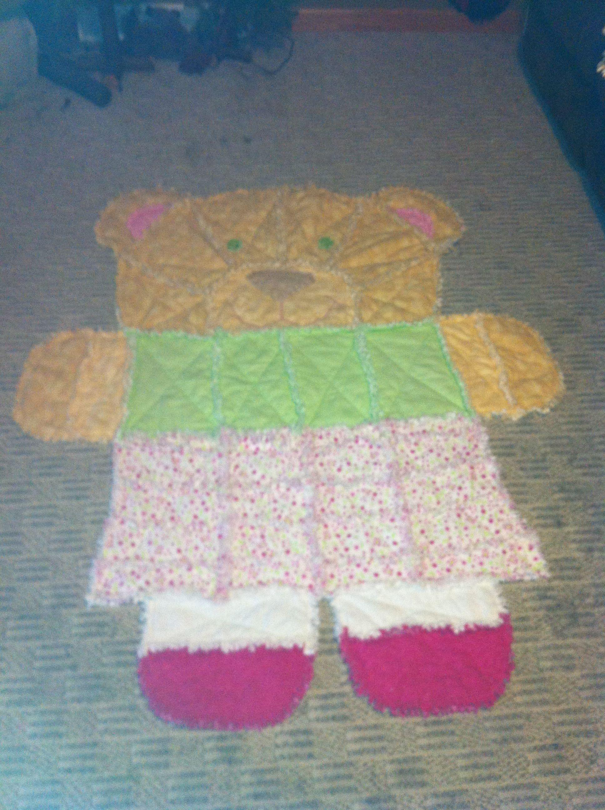 Girl Bear Rag Quilt Rag Quilts Rag Quilt Quilt