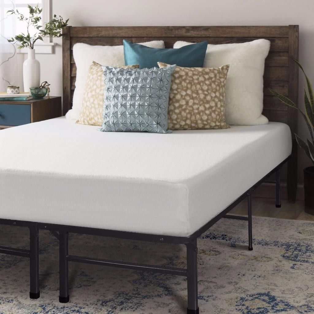 Crown Comfort 8-inch Full-size Bed Frame and Memory Foam Mattress ...