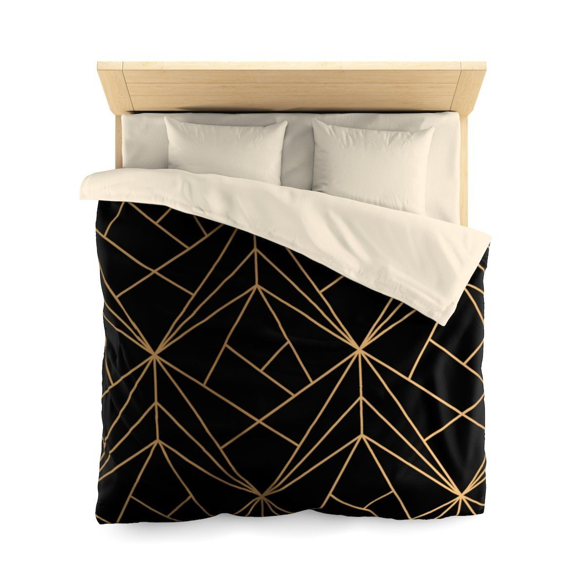 Classy Duvet Cover Black And Gold Geometric Pattern Bedding