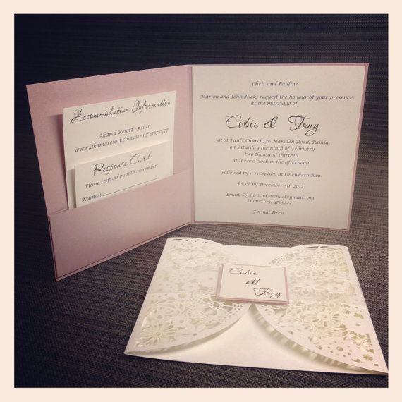 Floral Paper Lace Wedding Invitation Laser By StunningStationery 40000