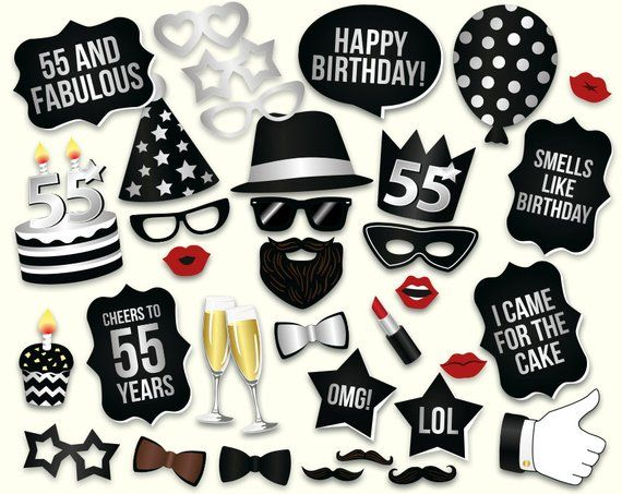55th Birthday Photo Booth Props Printable PDF Party Turning 55 Black And Silv