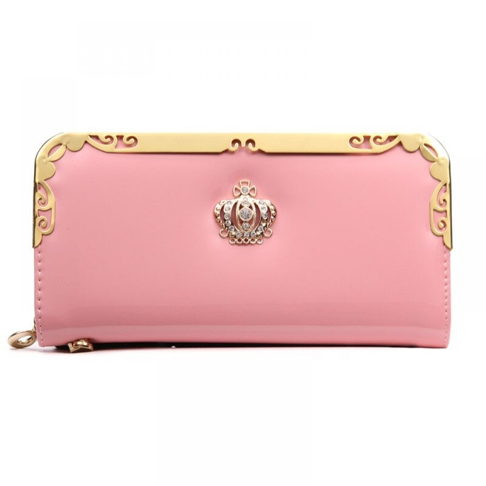 Women's Wallets Solid Pink Color PU Leather Long Phone Clutch Wallets #walletsforwomen