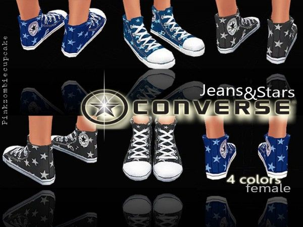 The Sims Resource: Converse Jeans&Stars by Pinkzombiecupcake • Sims 4 Downloads
