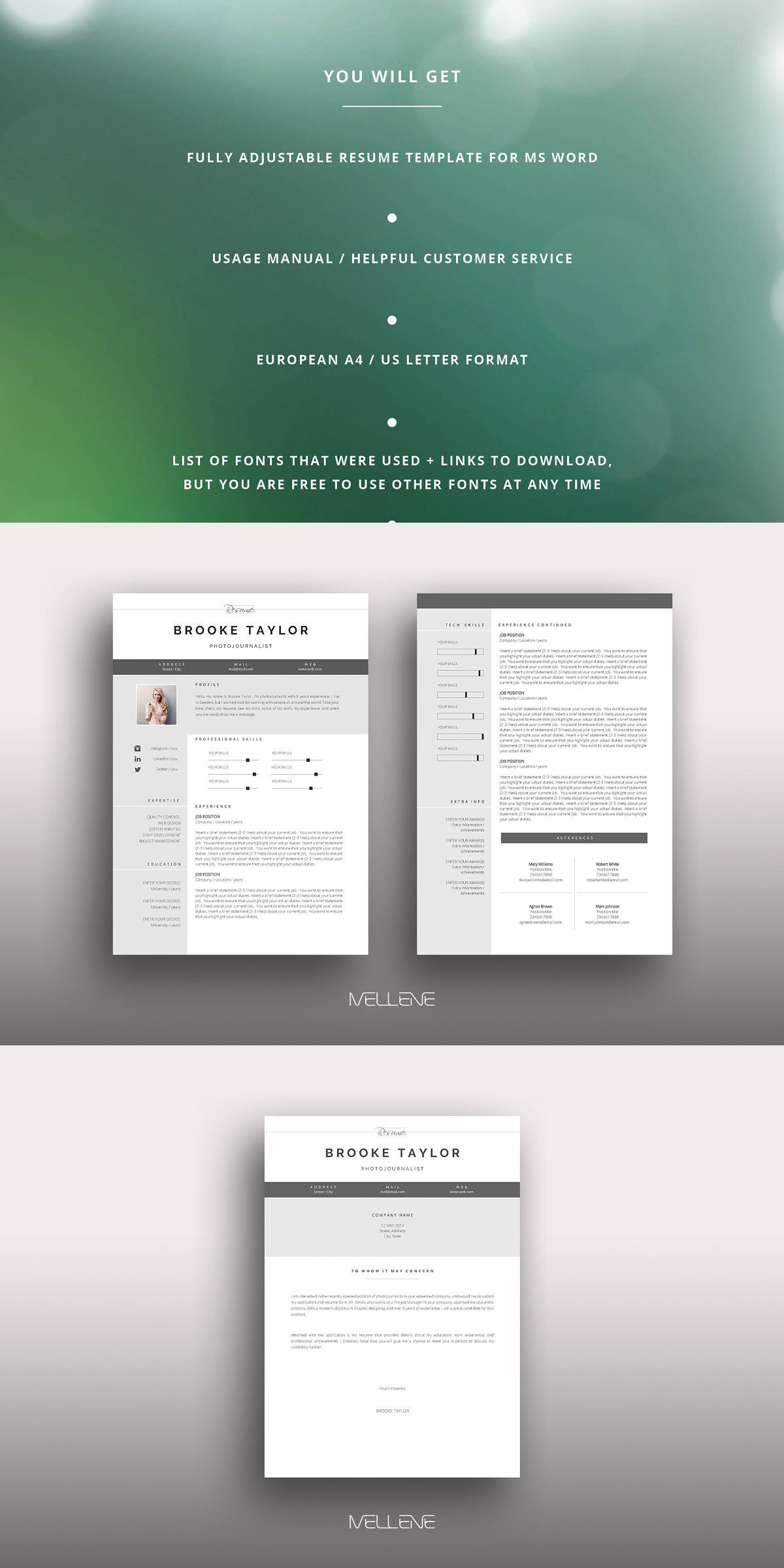 Resume / CV template Brooke in 2020 Cv template