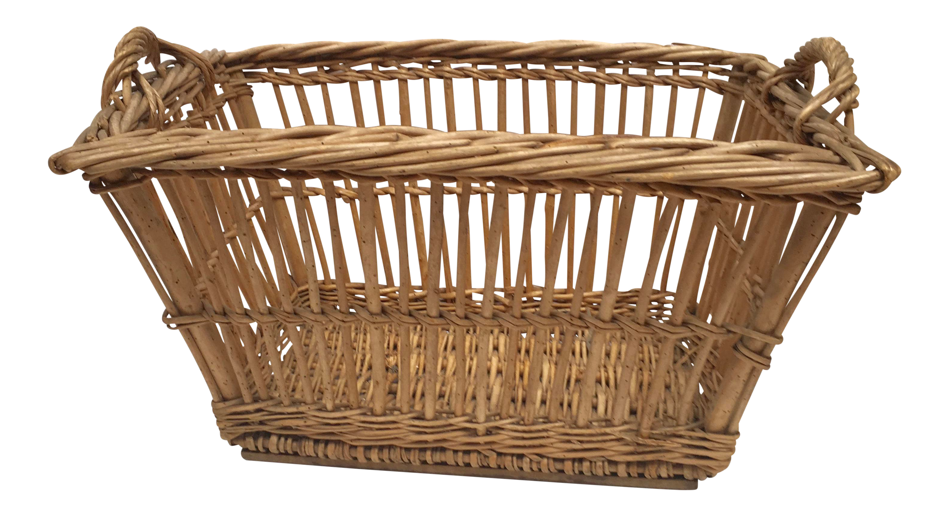 1900s French Woven Wicker Laundry Basket Basket Wicker Laundry Basket Wicker