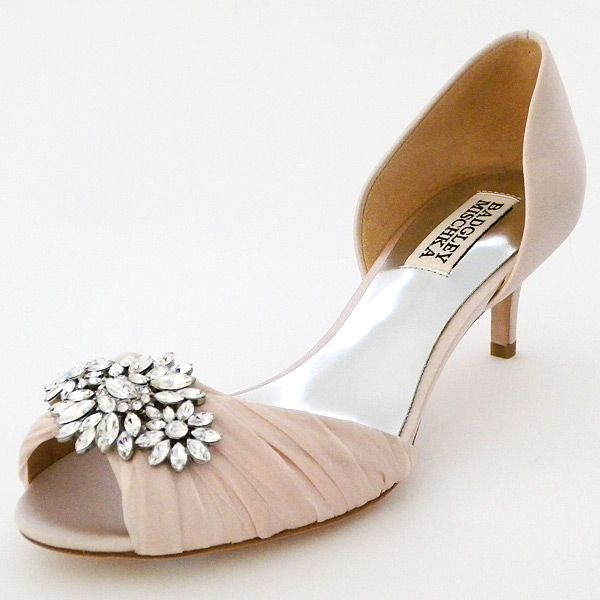 Pink Low Heel Wedding Shoes: Badgley Mischka Caitlin, Pink