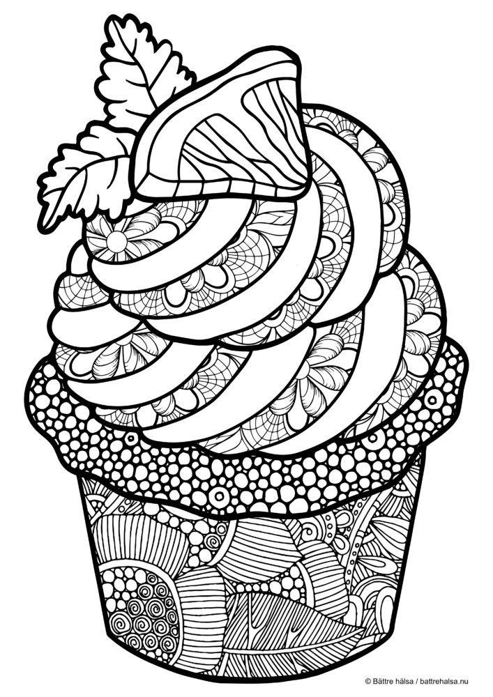 Coloring For Adults Cupcake Mandala Coloring Pages Cupcake Coloring Pages Food Coloring Pages