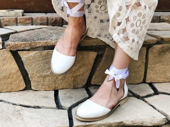 Wedding shoes for bride, Lace weddingFlats, White Bridal shoes low heel, Ballet flats with Ribbon,Cu