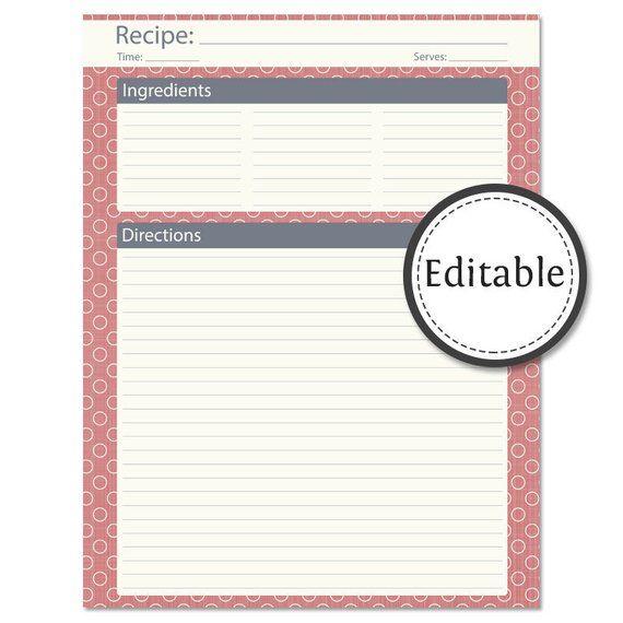Monogram Recipe Sheet Editable Recipe Card Preppy Template Wedding
