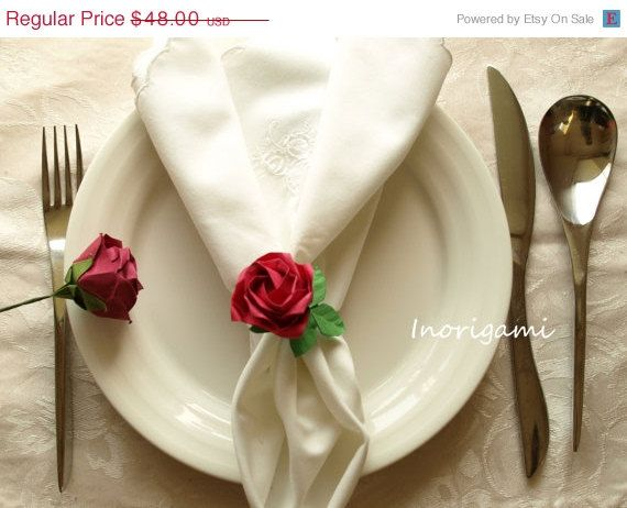 25%OFF SALE 12 Origami Fine Rose Napkin rings / by Inorigami