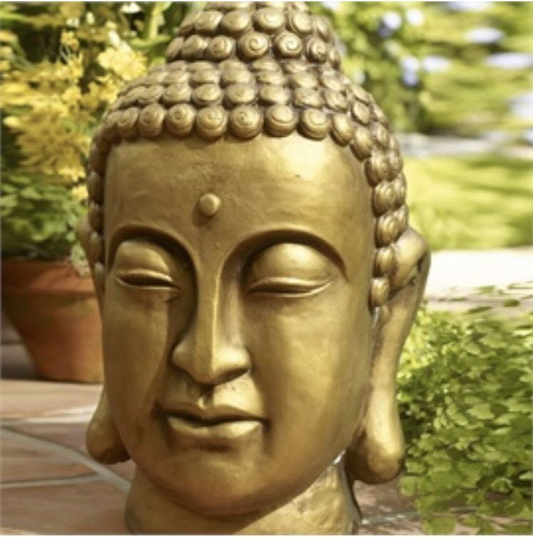 Gilded Buddha Head Statue New Gold Outdoors Garden | EBay