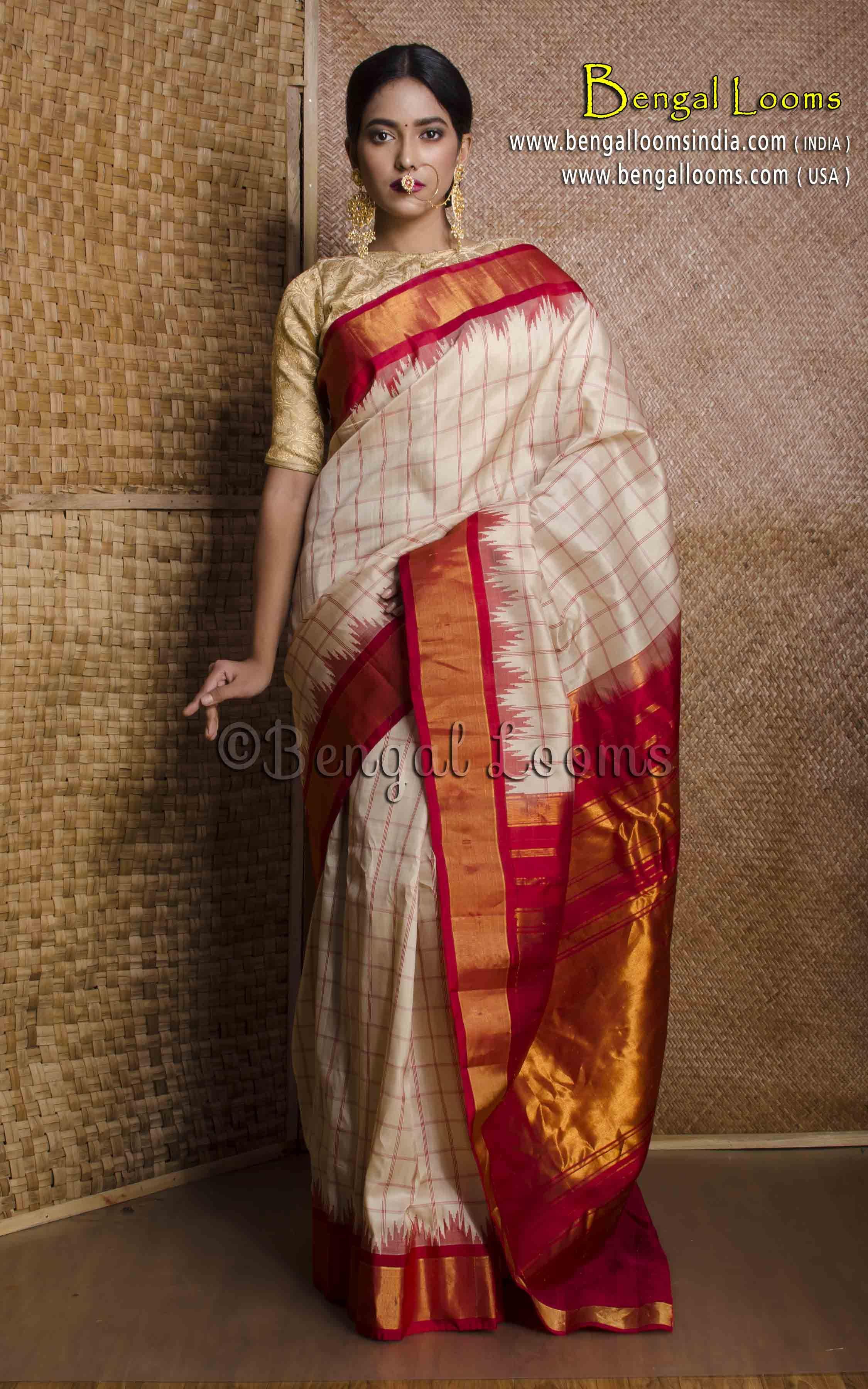265afad256e842 Pure Handloom Checks Gadwal Silk Saree in Cream and Red | Gadwal ...