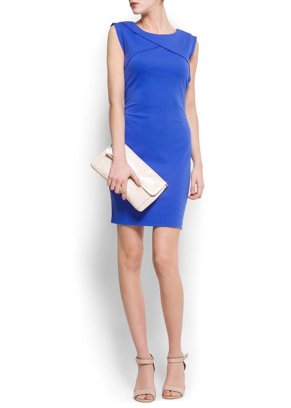 22153d06fdd36a MANGO - KLEDING - Jurken - Blauw - Origami stretch jersey jurk