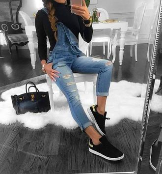 cf7384253c2 t-shirt adidas superstars black white jeans jumpsuit shoes dungarees pants  overalls tight overalls pretty romper cute instagram shirt black shirt denim  ...