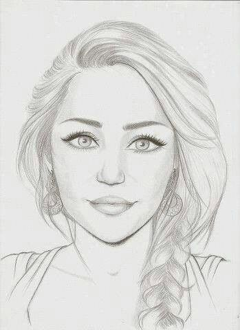 Portrait of miley cyrus amazing pencil drawings of girlscool