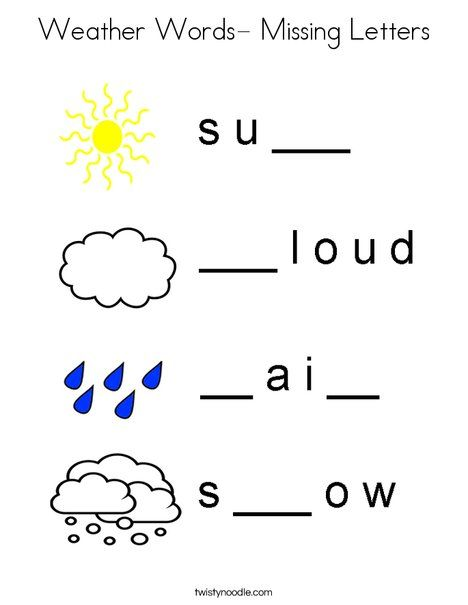weather words- missing letters coloring page - twisty noodle