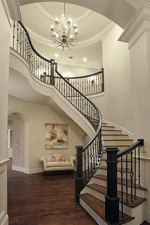 modern colonial foyer curved staircase - Google Search ...