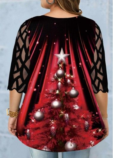 Plus Size Mesh Panel Christmas Tree Print T Shirt   Rotita.com – USD $29.20