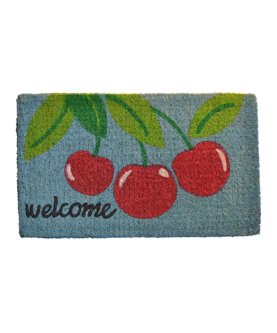 Look at this #zulilyfind! Red & Green 'Welcome' Cherry Doormat by Imports Décor #zulilyfinds