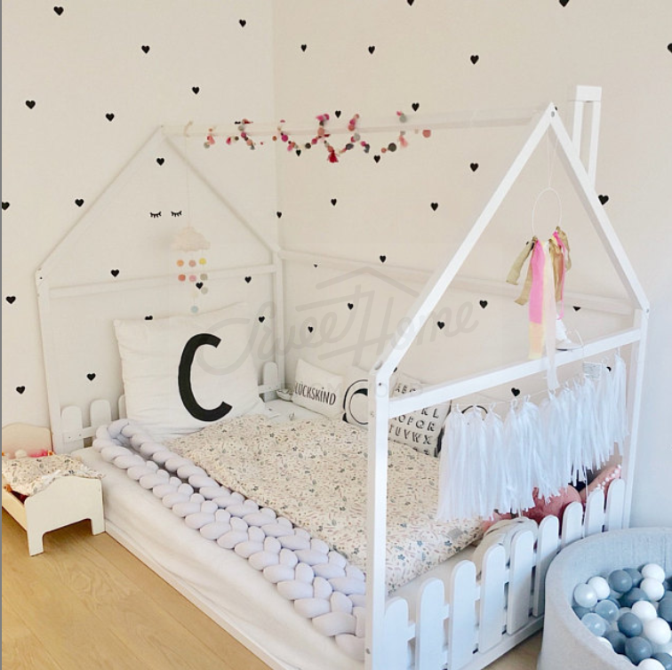 Wood House Baby Bed Floor Bed Frame Bed Toddler Bed House Bed