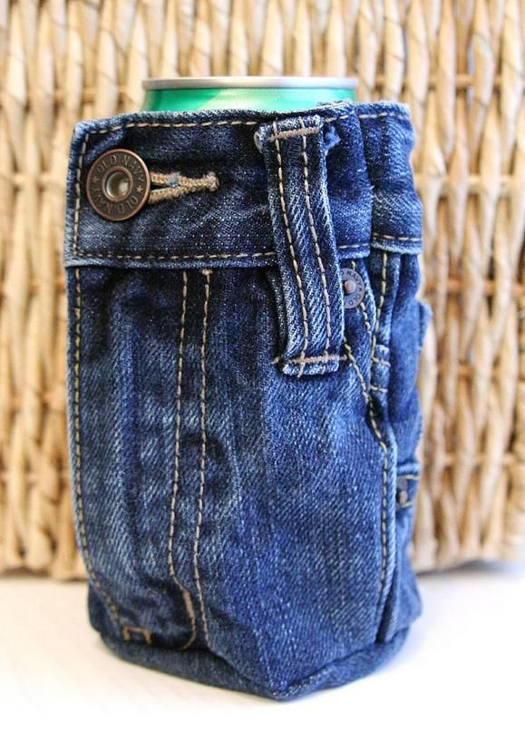 Make a Denim Drink Koozie From A Pair of Jeans - omg - I ...