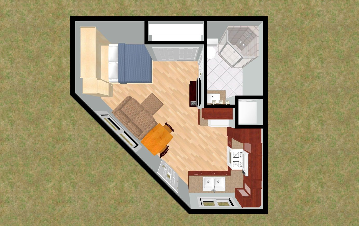 Small House Plans With Loft Bedroom Cozyhomeplanscom 330 Sq Ft Small House Floor Plan Octagon 4 Plex