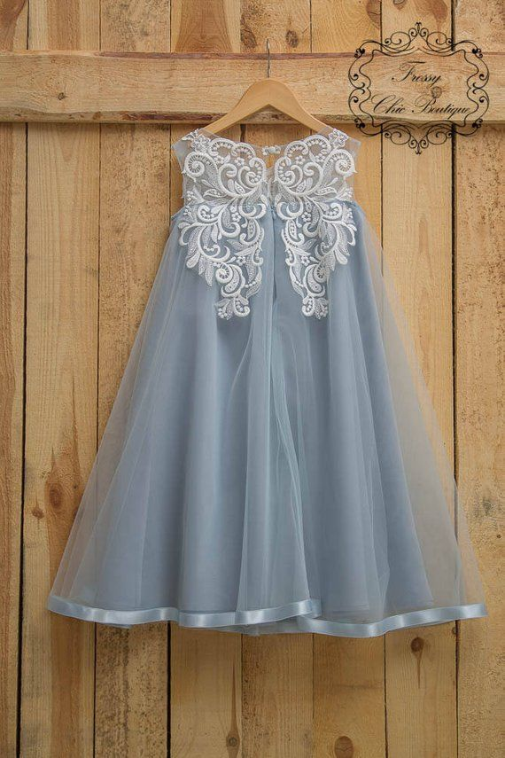 b02f791f98ff3 Dusty blue flower girl dress boho rustic flower girl first communion ...